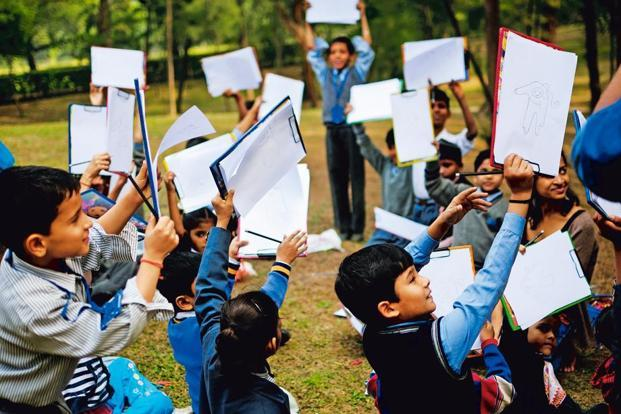 Participants at Bookaroo in the City, a pre-festival event, at Lodhi Gardens, Delhi. Photo: Pradeep Gaur/Mint